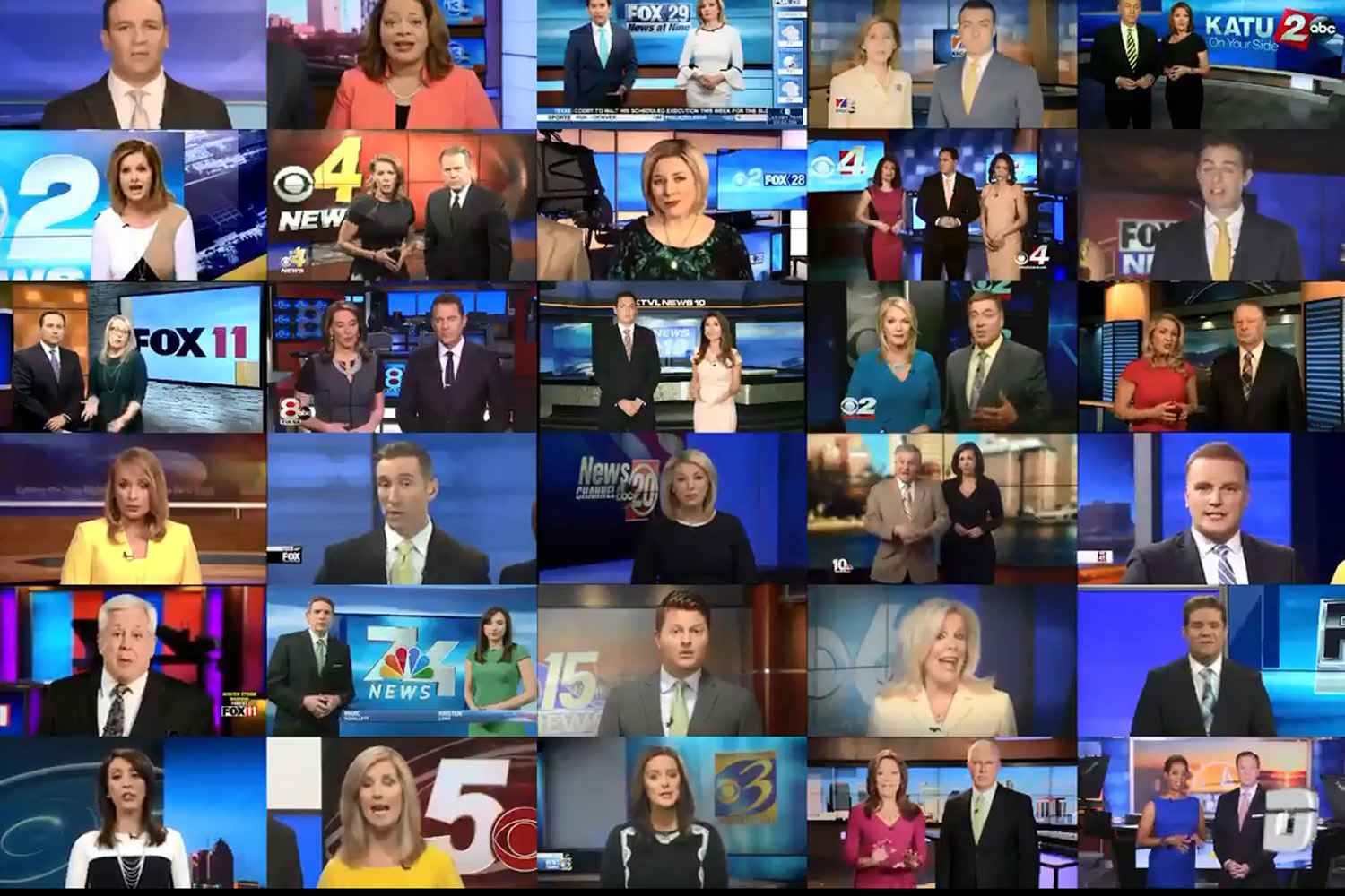 A screen capture of a video compiled by Deadspin showing news anchors around the country reading a scripted message from Sinclair Broadcasting. (Twitter/Deadspin)