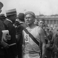 Bricklayer Bill Kennedy at the 1919 Chateau-Thierry relay race in Paris. (Courtesy of University of Massachusetts Press)