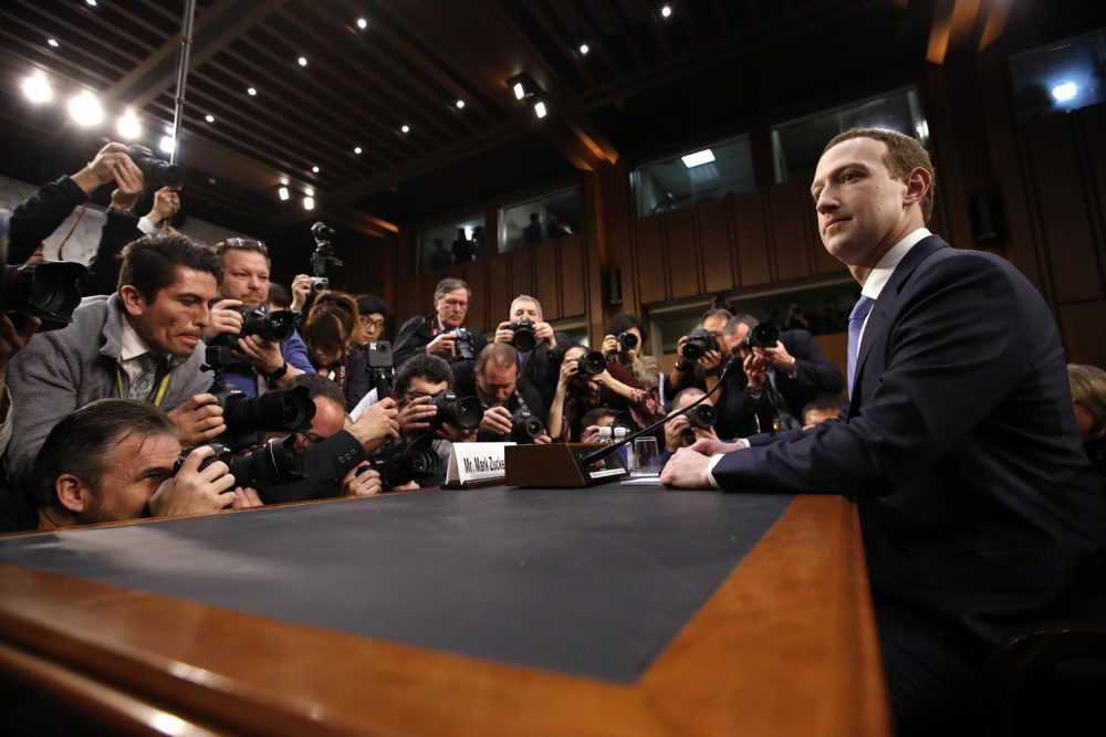 Facebook Chief Executive Mark Zuckerberg appeared before the Senate Commerce and Judiciary committees in April, after Facebook said personal information about 87 million users might have been improperly shared with Cambridge Analytica. (Alex Brandon/AP)