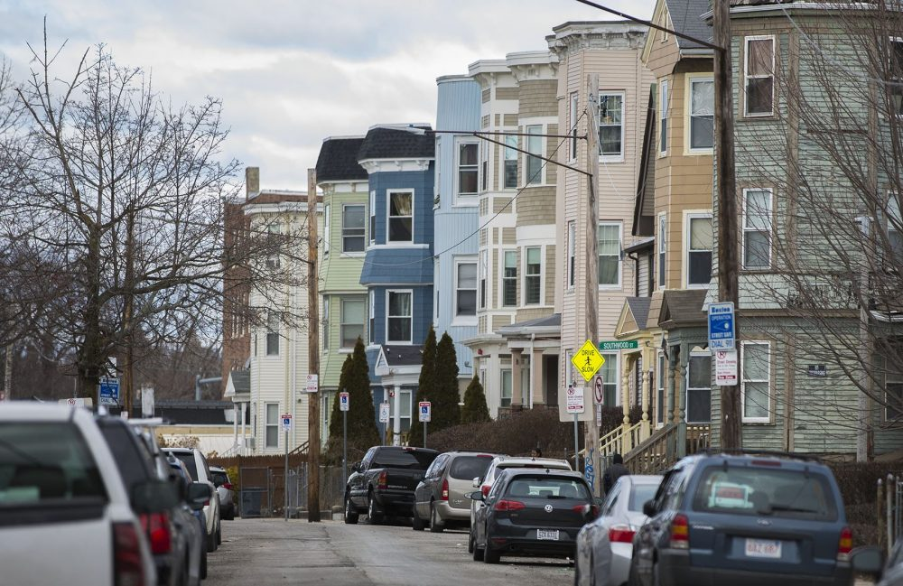 Triple-deckers along Edgewood Street in Dorchester. (Jesse Costa/WBUR)