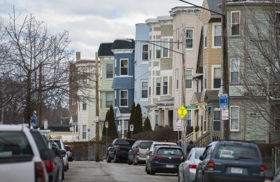 Triple-deckers along Edgewood Street in Dorchester (Jesse Costa/WBUR)