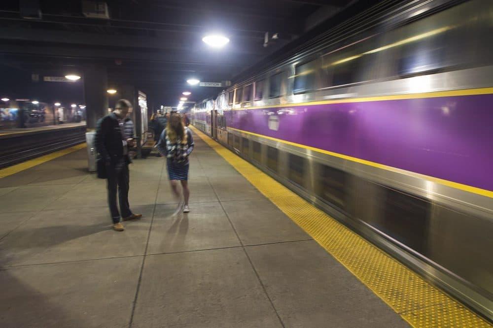 A commuter rail train arrives at Back Bay Station. (Jesse Costa/WBUR)