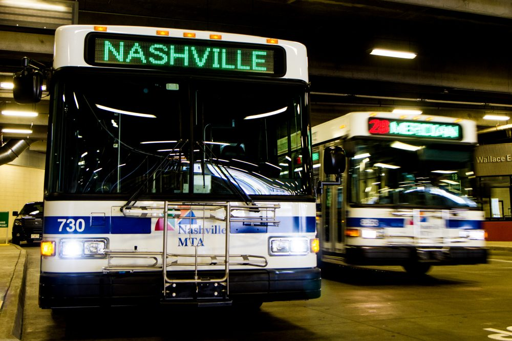Buses pull through the Music City Central transit station in Nashville, Tenn., in 2013. (Erik Schelzig/AP)