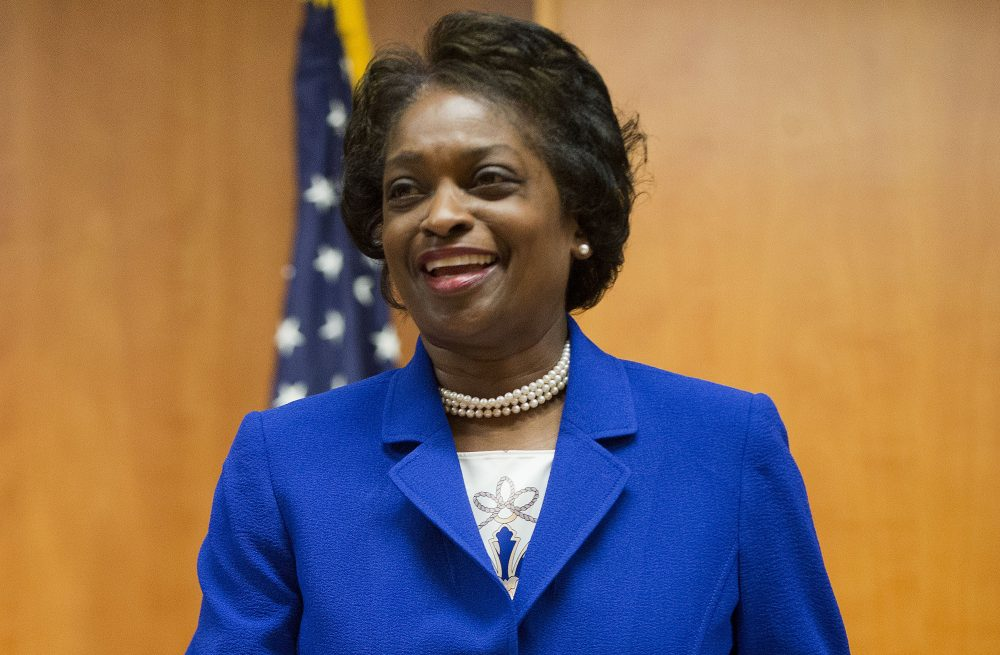 In this Feb. 26, 2015, FCC Commissioner Mignon Clyburn, takes her seat before the start of an FCC open hearing and vote on Net Neutrality in Washington, D.C. (Pablo Martinez Monsivais, file/AP)