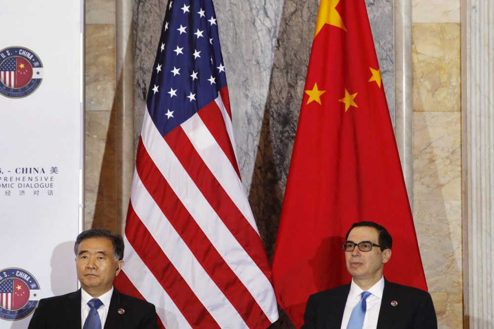 Chinese Vice Premier Wang Yang, left, and Treasury Secretary Steven Mnuchin, attend the U.S.-China Comprehensive Economic Dialogue, Wednesday, July 19, 2017, at the Treasury Department in Washington. (Jacquelyn Martin/AP)
