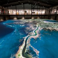 The LSU Center for River Studies houses the Lower Mississippi River Physical Model, a 90-foot by 120-foot movable bed physical model, which is one of the largest of its kind in the world. (Courtesy LSU)