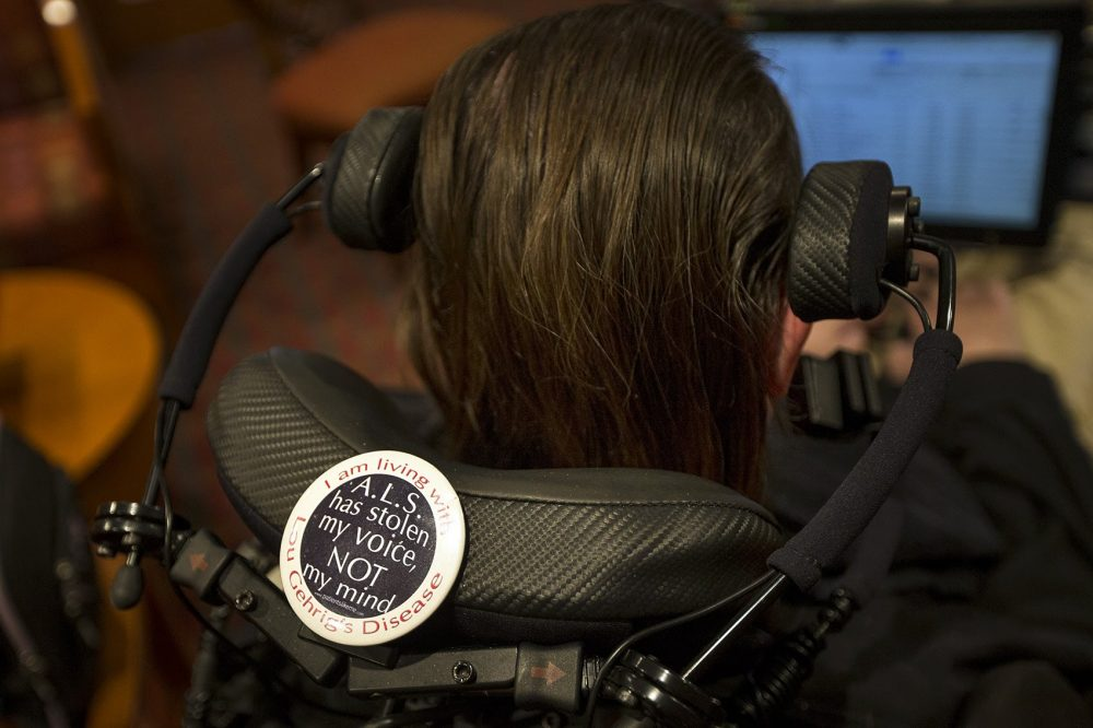 A button on the back of Steve Saling's wheelchair. (Jesse Costa/WBUR)