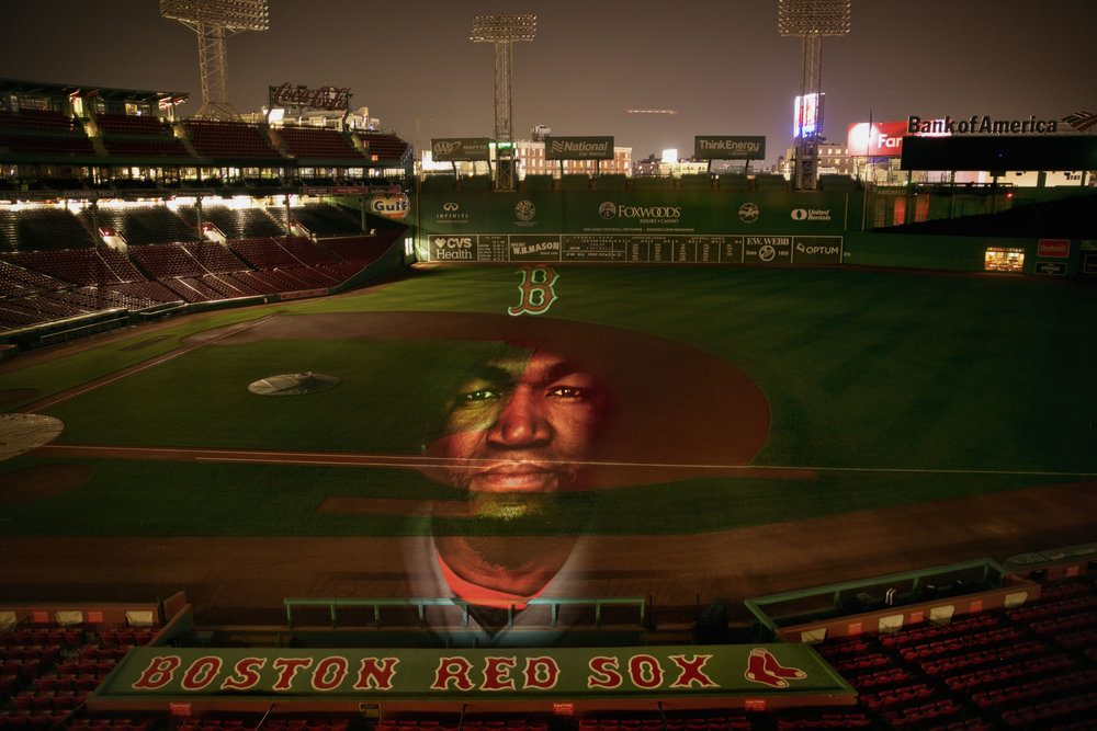 "A portrait of former Red Sox slugger David Ortiz (""Big Papi"") projected in Fenway Park. (Courtesy Erik Jacobs)"