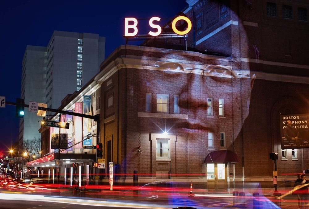 A portrait of musician Yo-Yo Ma projected onto Symphony Hall. (Courtesy Erik Jacobs)