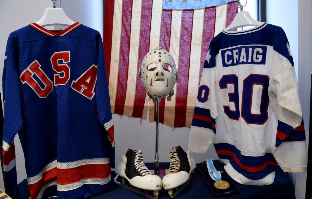 "Jim Craig's memorabilia from the 1980 Olympic run was auctioned off back in 2016. Craig and his teammates' win over the Soviet Union was portrayed in the 2004 movie ""Miracle."" (Timothy A. Clary/AFP/Getty Images)"