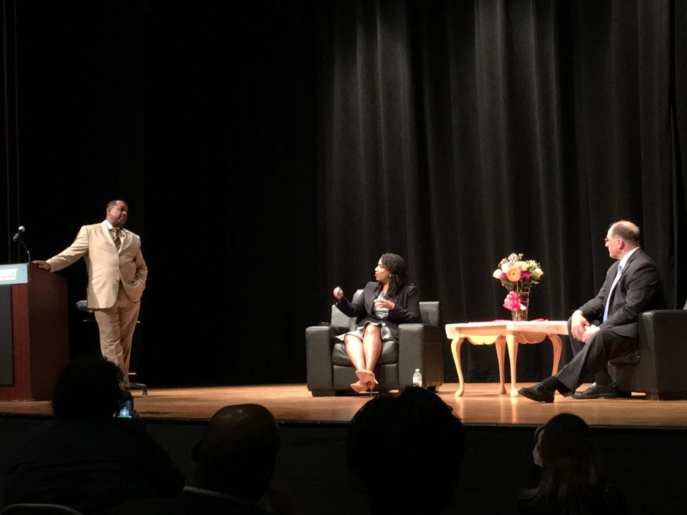 Sheriff Steven Tompkins, at left, moderates a forum with City Councillor Ayanna Pressley and U.S. Rep Michael Capuano. (Courtesy of Jennifer Smith)