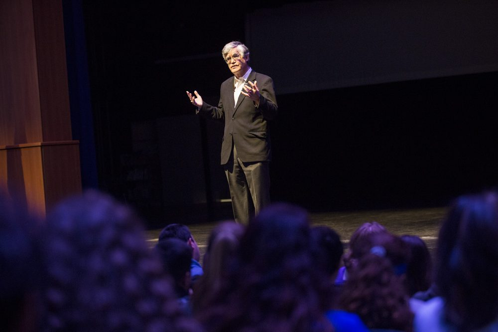 John Broderick, a former chief justice of the New Hampshire Supreme Court, speaks to high school students in Salem, N.H., about mental health awareness. (Jesse Costa/WBUR)