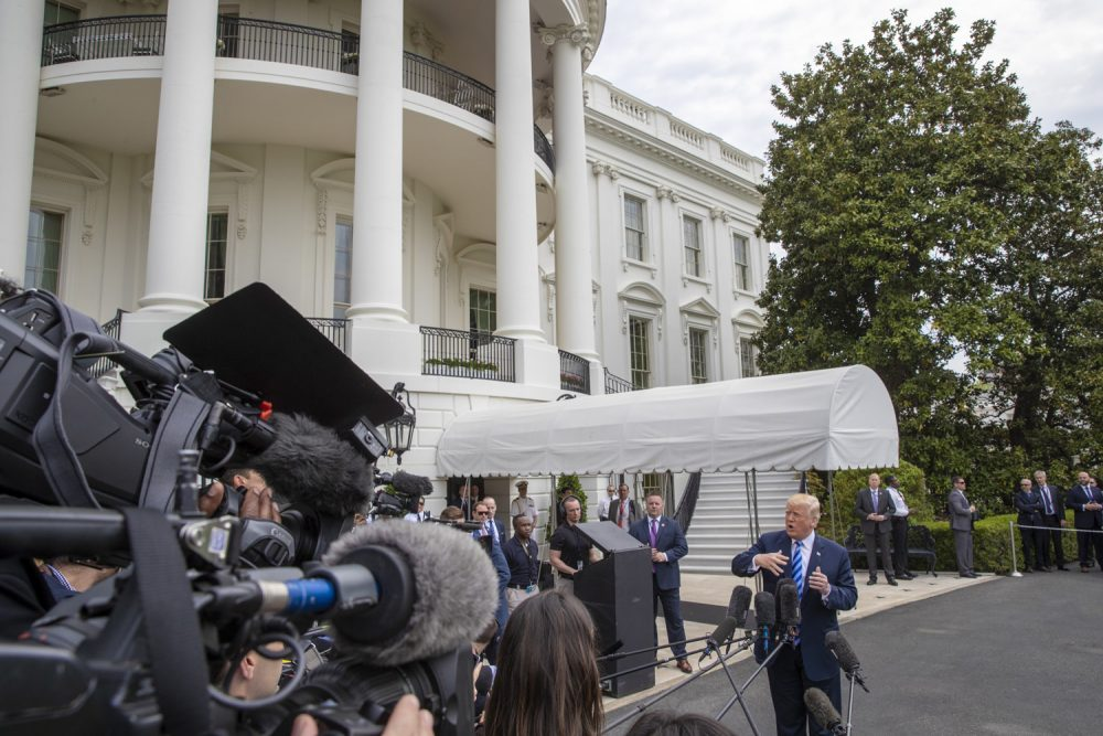 President Donald Trump talks to the media at the White House as he leaves for Dallas to address the National Rifle Association, Friday, May 4, 2018 in Washington.  (J. Scott Applewhite/AP)
