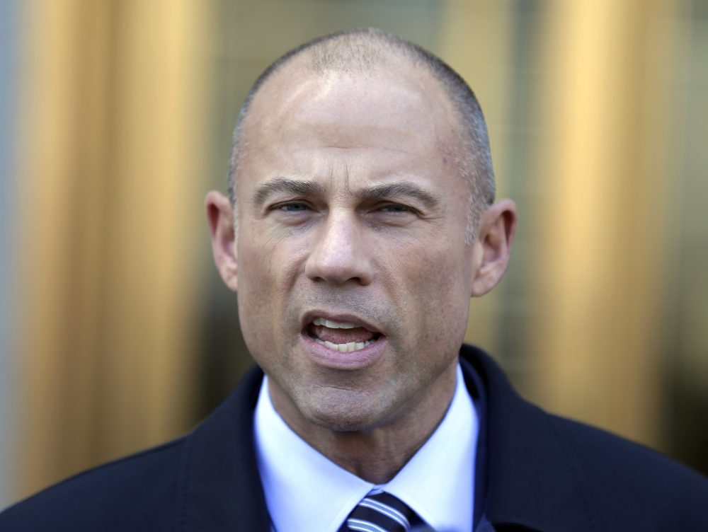 In this Thursday, April 26, 2018, file photo, Michael Avenatti, Stormy Daniels' attorney, talks to reporters outside of federal court in New York. Avenatti says he has information showing that President Donald Trump's longtime personal attorney, Michael Cohen, received $500,000 from a Russian billionaire within months of paying hush money to Daniels. (Seth Wenig/AP)