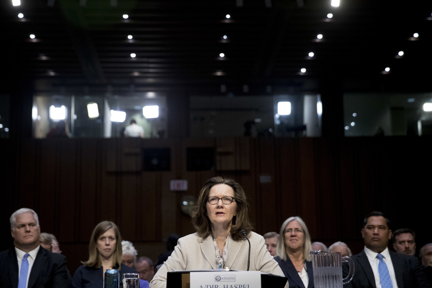 Gina Haspel, President Donald Trump's pick to lead the Central Intelligence Agency, testifies at her confirmation hearing before the Senate Intelligence Committee, on Capitol Hill, Wednesday, May 9, 2018, in Washington. (Andrew Harnik/AP)