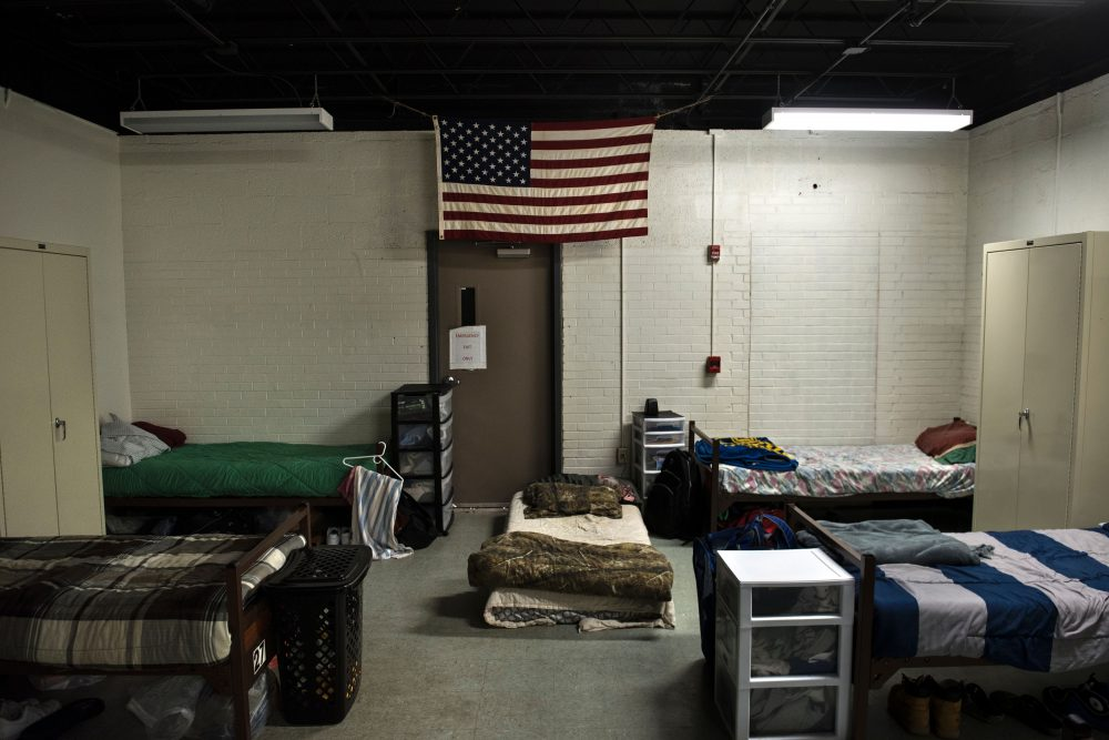 A dorm room for clients recovering from drug addiction is seen in Huntington, W.Va., in 2017. The city in the northwest corner of West Virginia, bordering Kentucky, has been portrayed as the epicenter of the opioid crisis. (Brendan Smialowski/AFP/Getty Images)