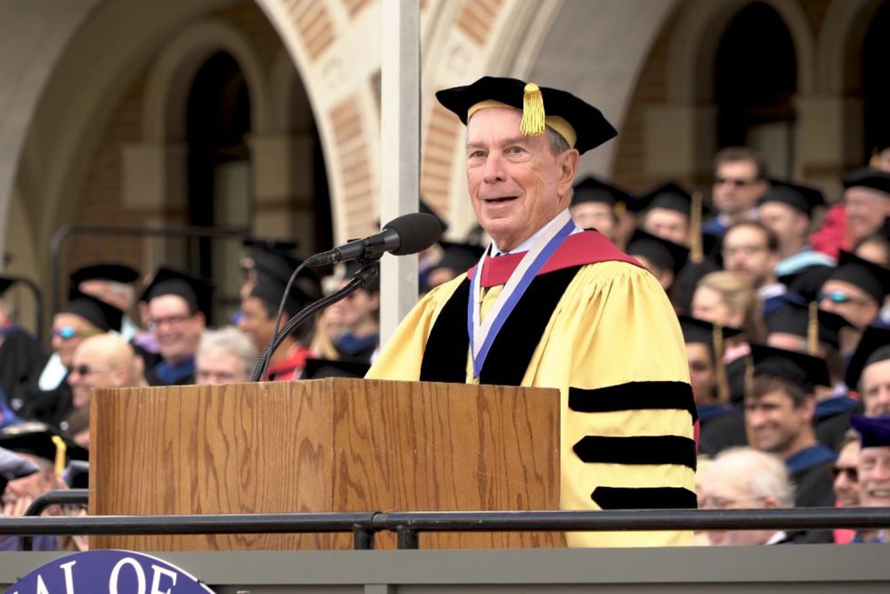 Michael Bloomberg speaking at Rice University in May 2018. (Courtesy Rice University/Youtube)