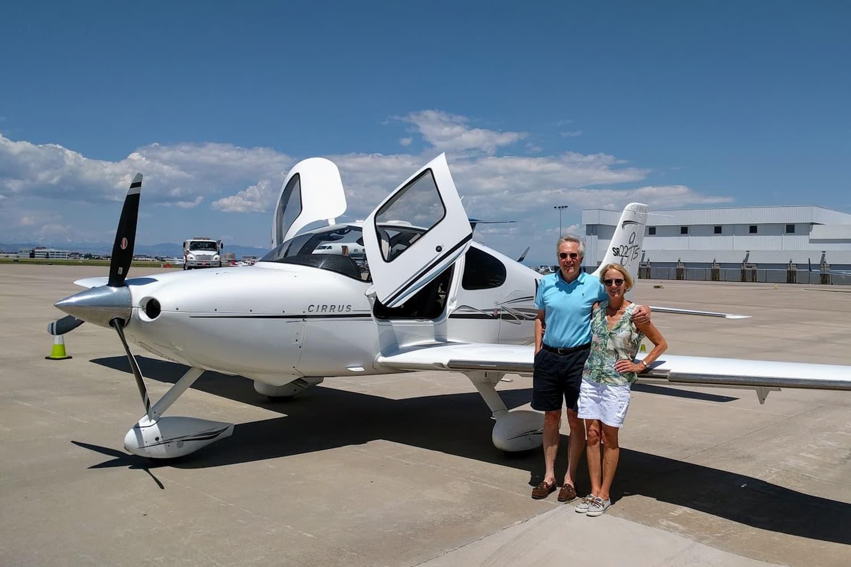 The Fallows with their plane. (Courtesy James and Deborah Fallows)