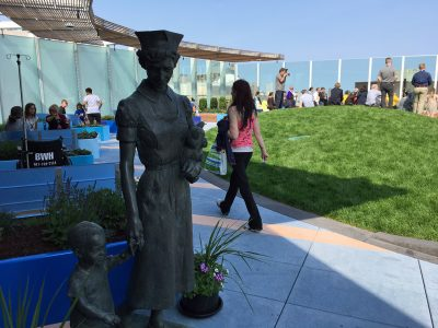 The rooftop garden is now home to a number of statues that were in the Prouty Garden. (Lynn Jolicoeur/WBUR)