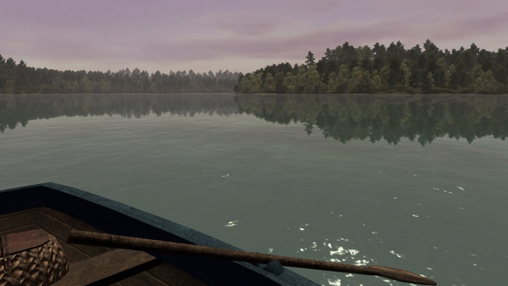 "A screenshot of late-summer boating on the version of Concord's Walden Pond in the PS4 game ""Walden, a game."" (Courtesy USC Game Innovation Lab)"