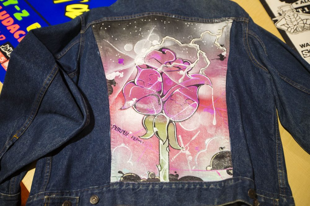 A jacket that Rob Stull illustrated in the '80s. (Jesse Costa/WBUR)