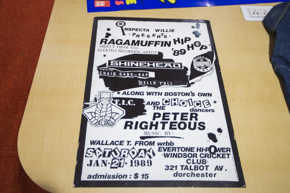 A poster Rob Stull designed for a show at the Windsor Cricket Club in Dorchester that was headlined by Bronx rapper/DJ Shinehead, featuring Boston breakdancing crew the Choice Dancers. (Jesse Costa/WBUR)