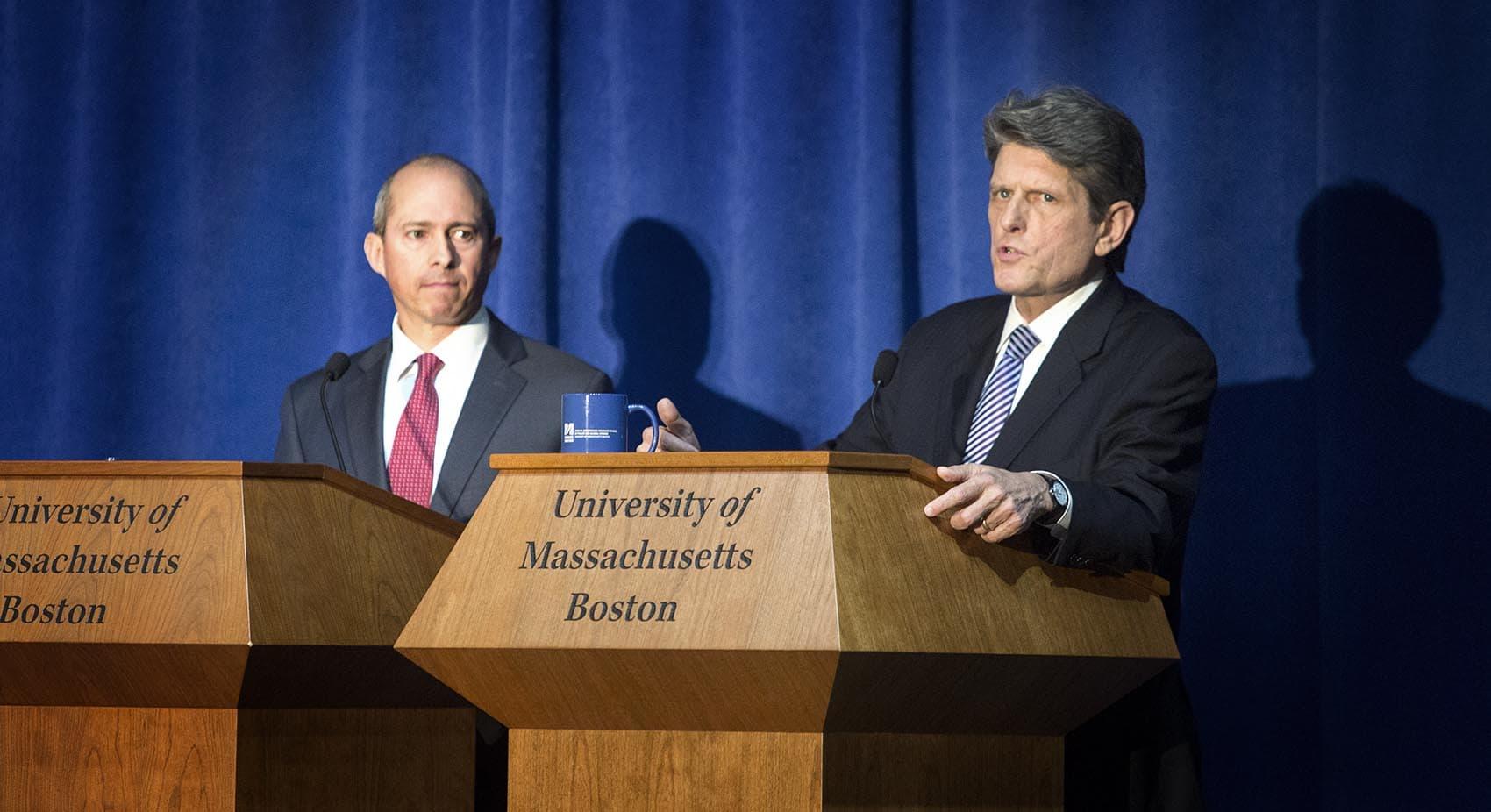 Democratic gubernatorial candidates Jay Gonzalez, left, and Bob Massie during a debate at UMass Boston (Robin Lubbock/WBUR)