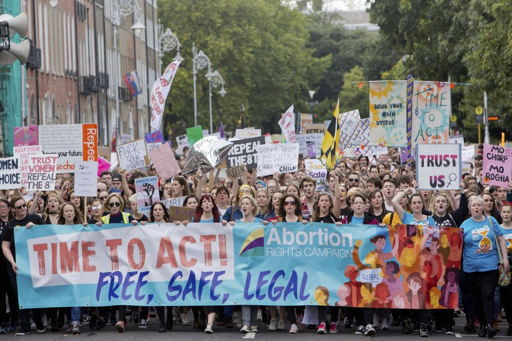 Demonstrators participate at The March for Choice event in Dublin, Ireland, calling for a change to Ireland's strict abortion laws in September, 2017.  (Tom Honan/PA via AP)