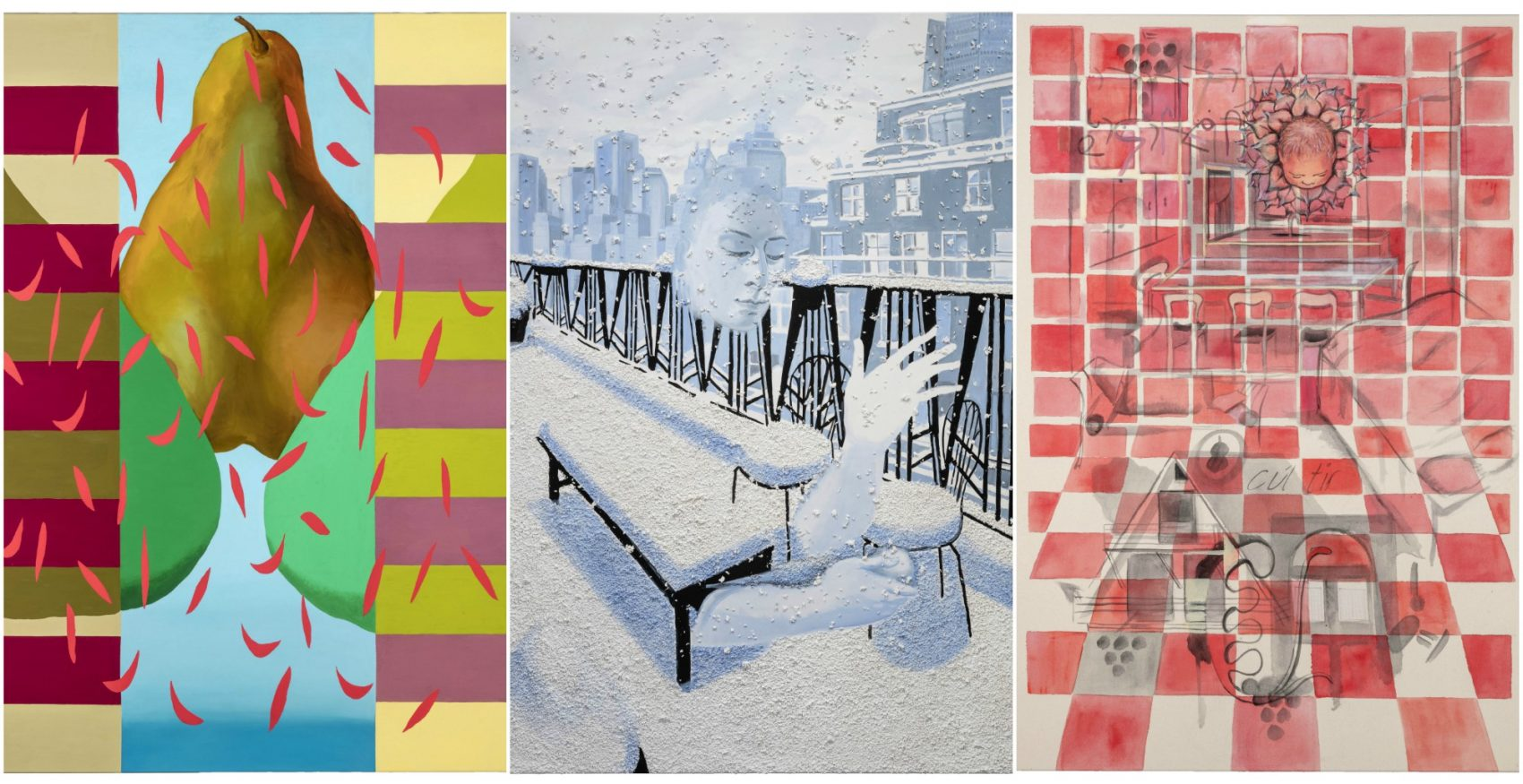 "Three of Allison Katz's paintings: From left to right, ""Sweety,"" ""Slippy"" and ""Wheezy."" (Courtesy of the artist)"