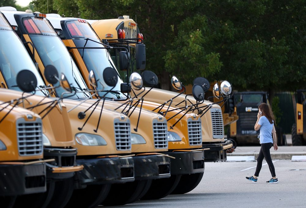 Buses at Coral Shores High School in Tavernier, Fla., on Sept. 7, 2017. (Marc Serota/Getty Images)