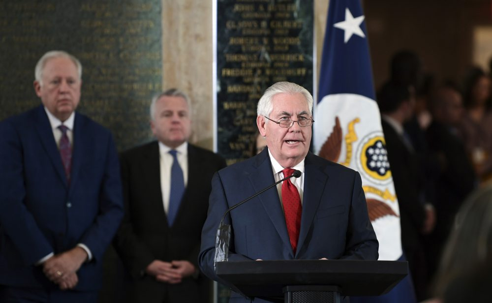 Outgoing Secretary of State Rex Tillerson speaks to employees of the State Department in Washington, Thursday, March 22, 2018. (Susan Walsh/AP)