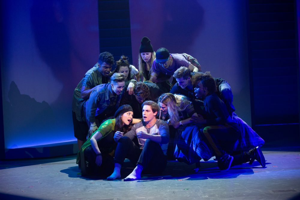 "Derek Klena as Mary Jane's son, Nick Healy, in A.R.T.'s ""Jagged Little Pill."" (Courtesy Evgenia Eliseeva/A.R.T.)"