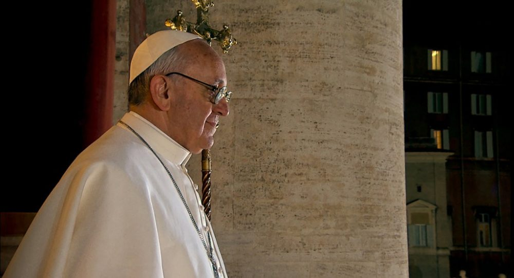 "Pope Francis in Wim Wenders' latest documentary, ""Pope Francis: A Man Of His Word."" (Courtesy Focus Features)"