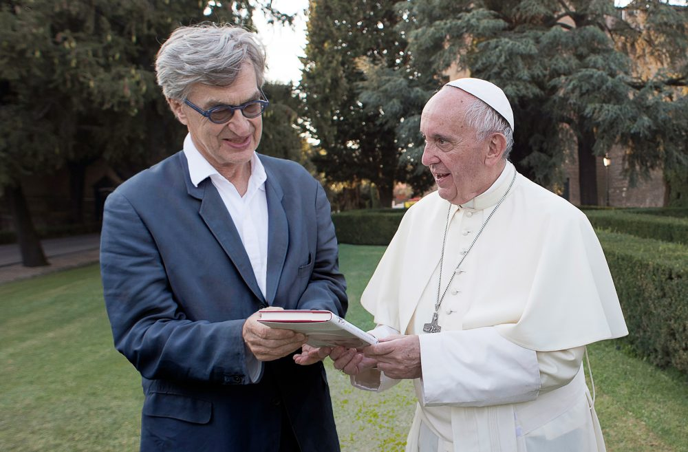 Director Wim Wenders with Pope Francis during filming. (Courtesy Francesco Sforza/Focus Features)
