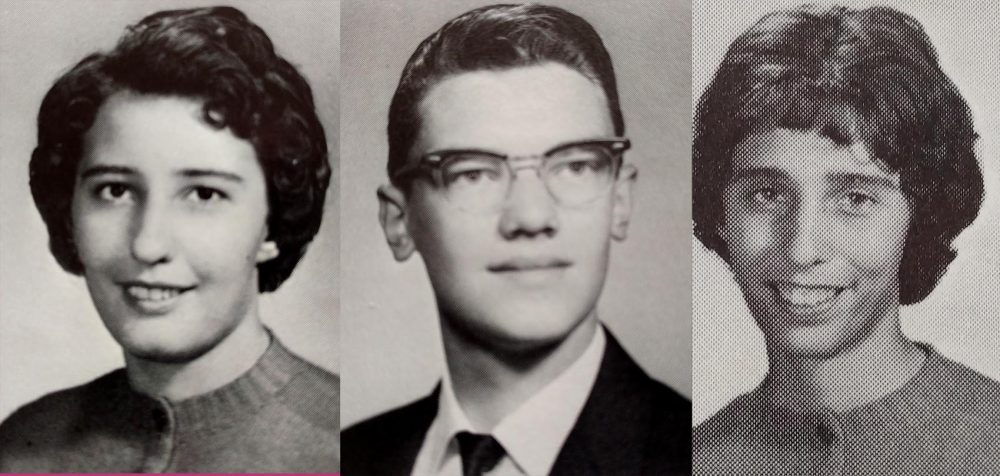 Bruce Smit (center), Lorraine O'Kelly (right) and Kathleen Rys (left) in their 1964 high school yearbook photos. (Courtesy of Mary O'Kelly)