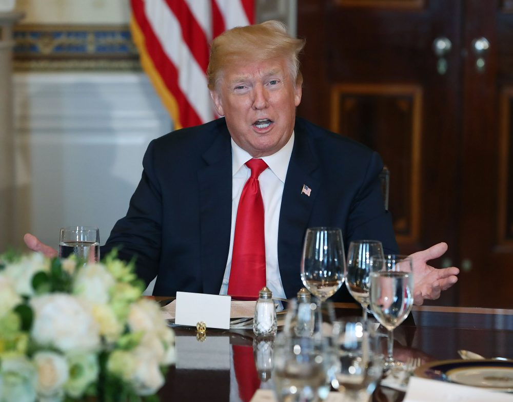 President Trump speaks about immigration laws during a dinner with former and present governors in the Blue Room at the White House on May 21, 2017 in Washington, D.C. (Mark Wilson/Getty Images)
