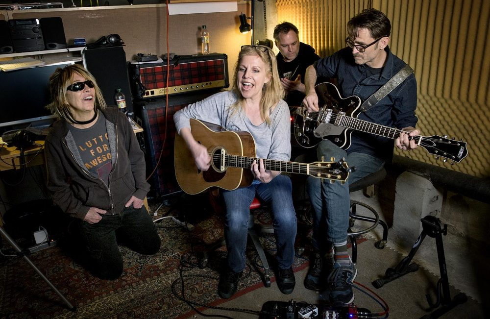 "Belly play ""Feed The Tree"" in their basement studio in Rhode Island. (Robin Lubbock/WBUR)"