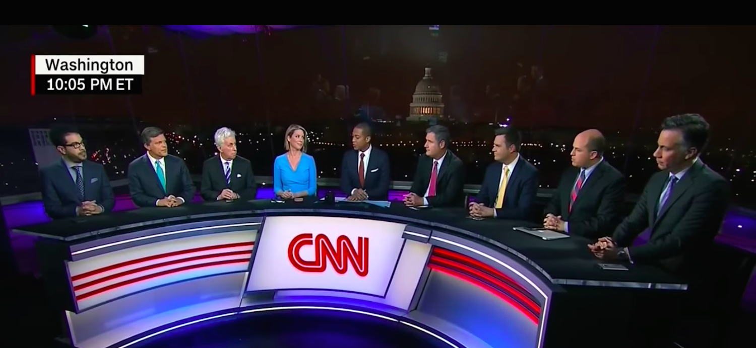 A group of CNN panelists discussing the women's march in January 2017. (via Raw Story/Youtube)