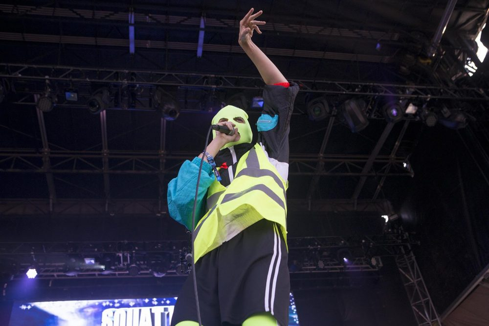 Pussy Riot performs at Boston Calling Friday evening. (Jesse Costa/WBUR)