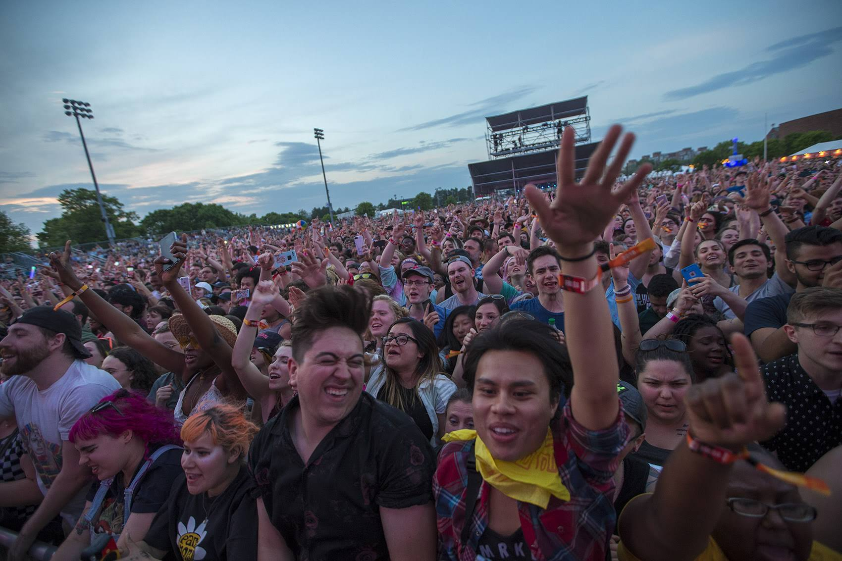 The crowd during Paramore's set at Boston Calling. (Jesse Costa/WBUR)