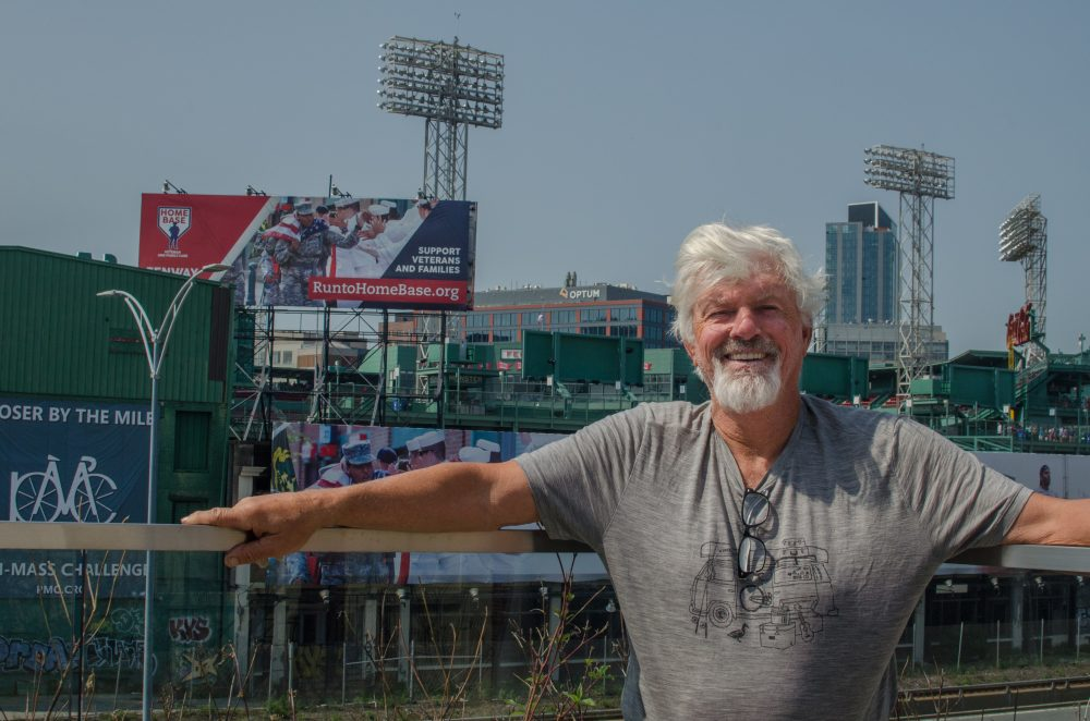 Pitching legend and free spirit Bill Lee, a member of the Red Sox Hall of Fame, relaxes near Fenway Park before taking the mound Sunday--in the first Red Sox Alumni Game in 25 years. (Sharon Brody/WBUR)