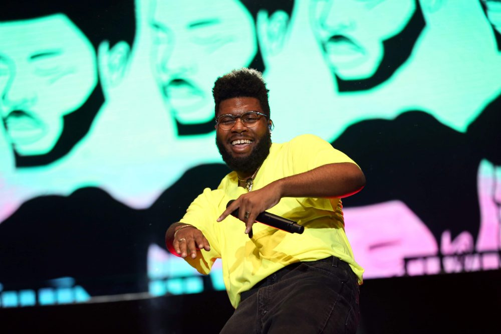 Khalid dances on stage at Boston Calling. (Hadley Green for WBUR)