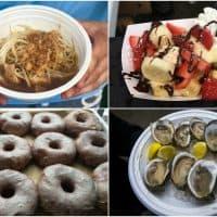 Ramen, waffles, doughnuts and oysters as seen at Boston Calling. (Andrea Shea and Jesse Costa/WBUR)