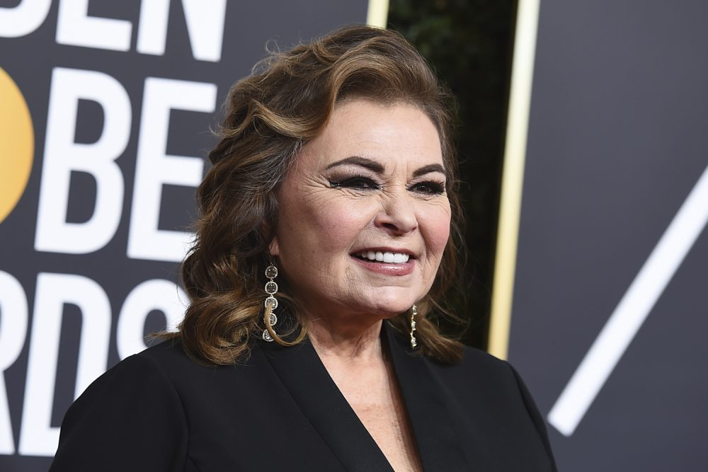 Roseanne Barr arrives at the 75th annual Golden Globe Awards at the Beverly Hilton Hotel on Sunday, Jan. 7, 2018, in Beverly Hills, Calif. (Jordan Strauss/Invision/AP)
