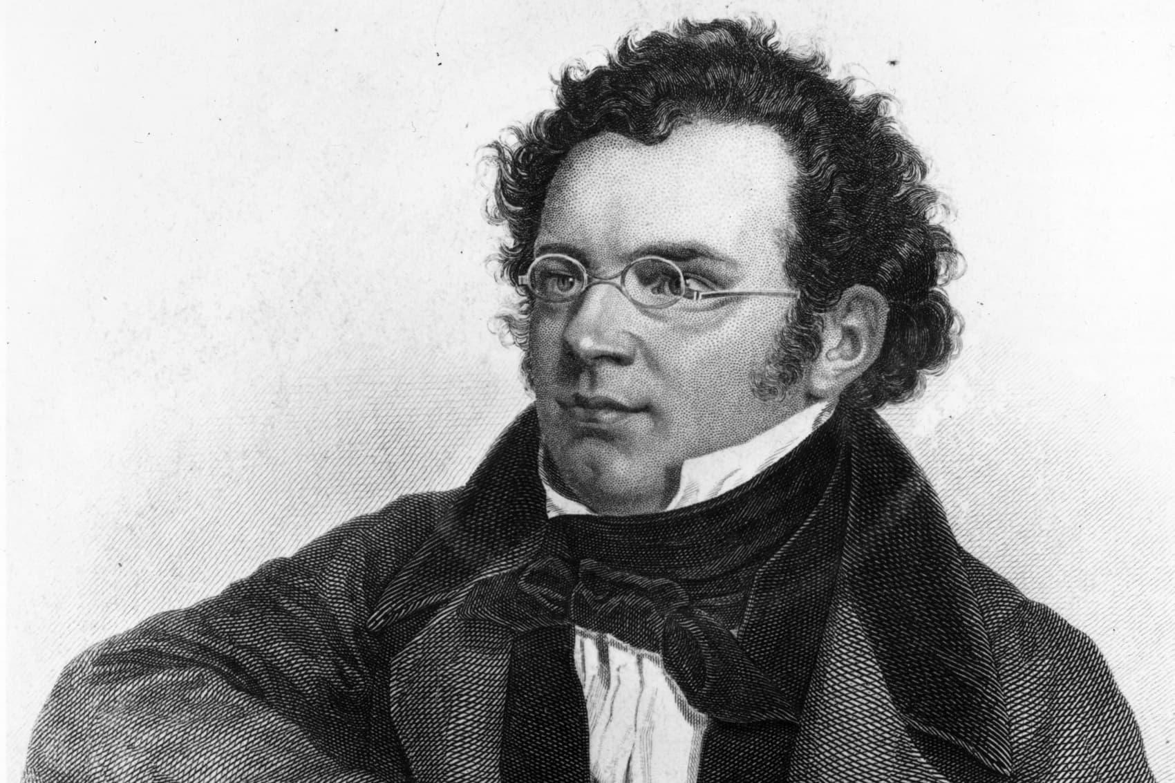 An 1820s engraving of Austrian composer Franz Peter Schubert, by Weger. (Rischgitz/Getty Images)