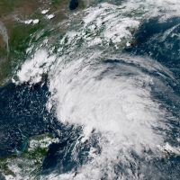 This GOES-16 GeoColor satellite image taken Saturday, May 26, 2018, at 21:30 UTC, and provided by the National Oceanic and Atmospheric Administration (NOAA), shows Subtropical Storm Alberto in the the Gulf of Mexico. (NOAA via AP)