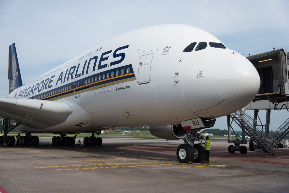 A Singapore Airlines Airbus A380 plane at Changi Airport in Singapore on Dec. 14, 2017. (Toh Ting Wei/AFP/Getty Images)