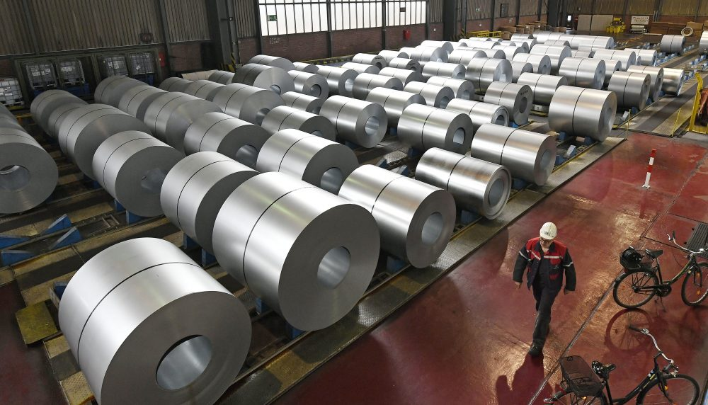 In this April 27, 2018 photo steel coils are stored at the Thyssenkrupp steel factory in Duisburg, Germany. (Martin Meissner/AP)