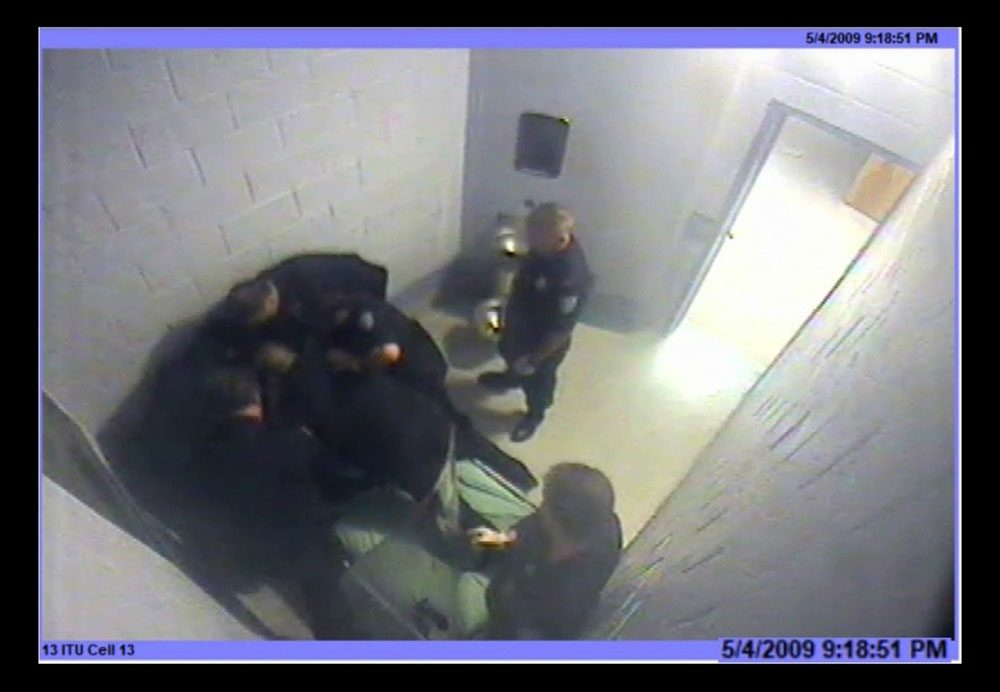 The changes at Bridgewater State Hospital were prompted -- in part -- by a lawsuit filed over the 2009 death of 23-year-old Joshua Messier. This screenshot from surveillance video shows moments before his death.