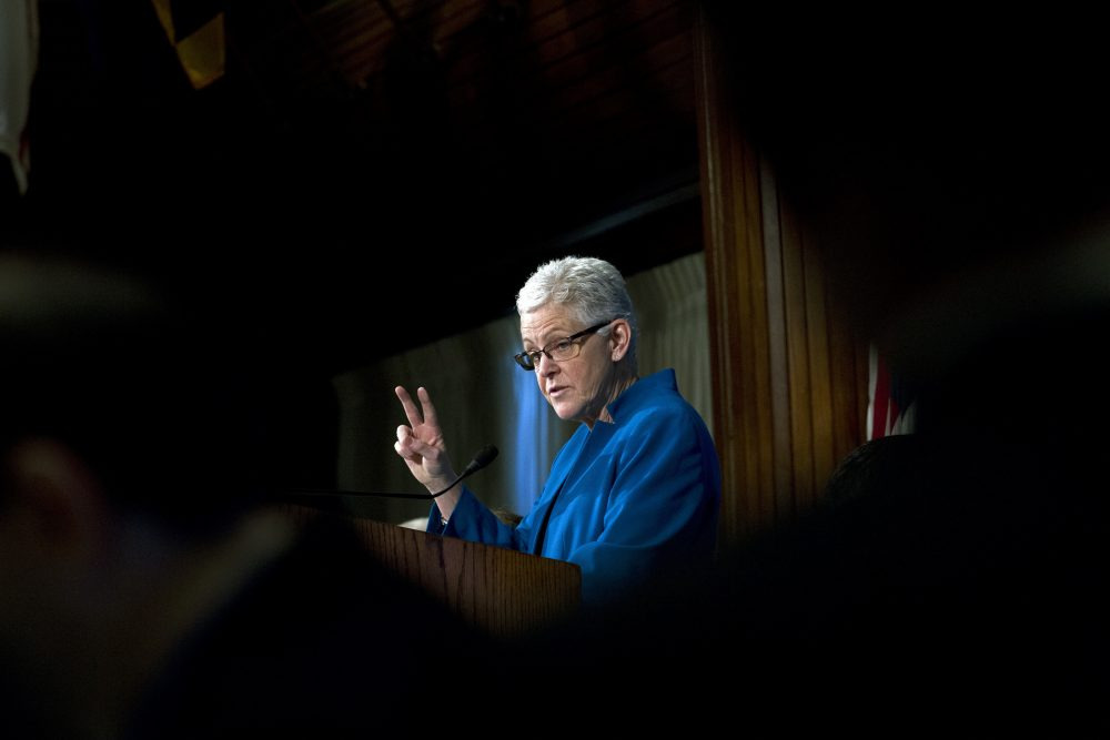 Environmental Protection Agency (EPA) Administrator Gina McCarthy speaks at the National Press Club luncheon in Washington, Monday, Nov. 21, 2016. (Jose Luis Magana/AP)